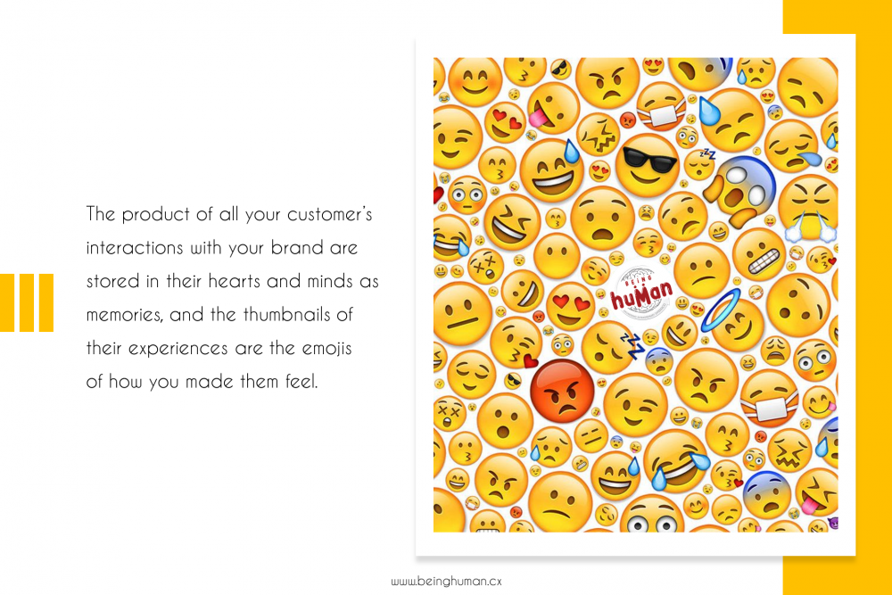 The product of all your customer's interactions with your brand are stored in their hearts and minds as memories, and the thumbnails of their experiences are the emojis of how you made them feel.