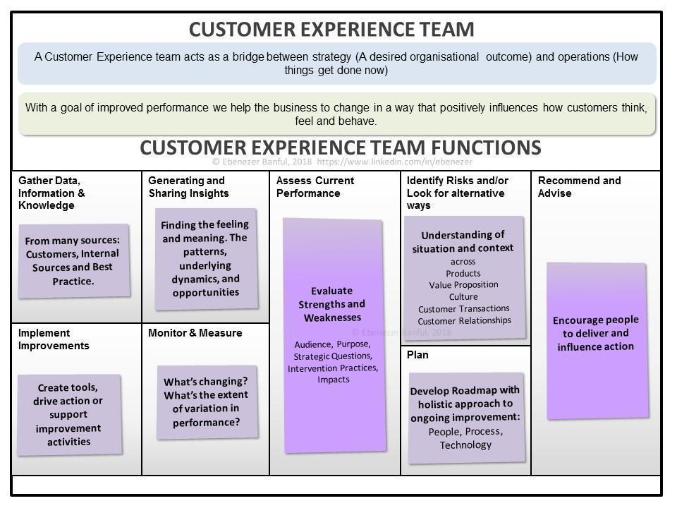 A customer experience team framework, produced by Ebenezer Banful