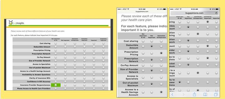 Mobile surveys grid format