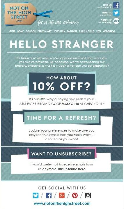 Re-engagement email example: Not on the High Street
