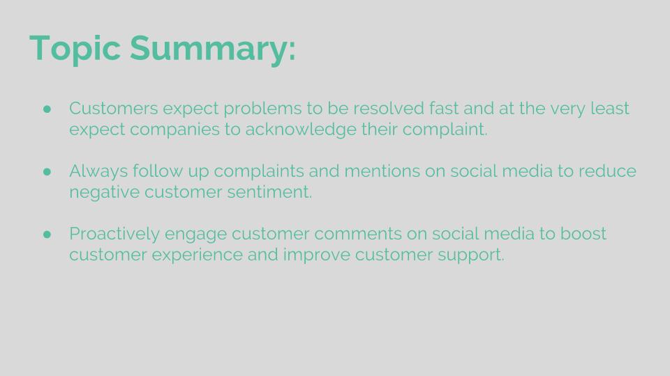 Topic Summary: Customer Expectations