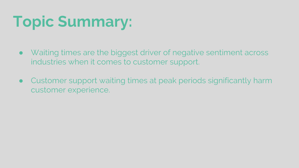 Topic Summary: Wait times frustrate customers
