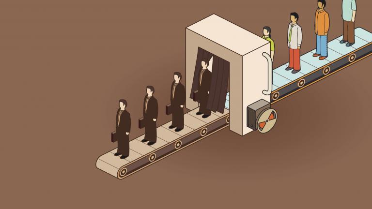 Salespeople conveyor belt