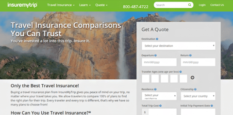 Insuremytrip home page