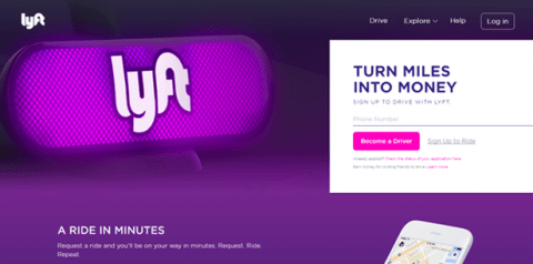 Lyft home page
