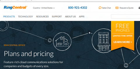 RingCentral home page