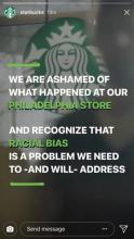 starbucks apology on instagram account for racist discrimination by store employee