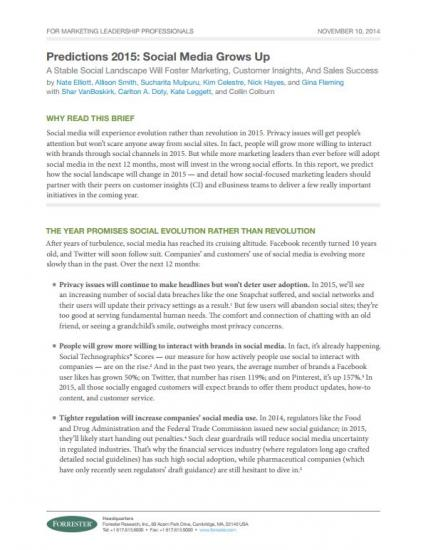 Forrester Social Media Grows Up Cover