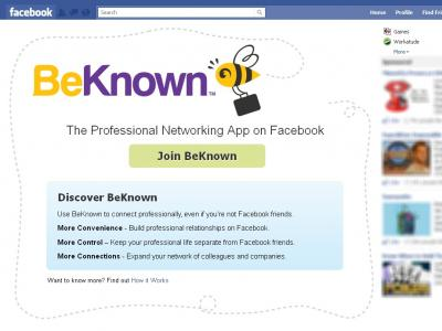 Landing page of BeKnown